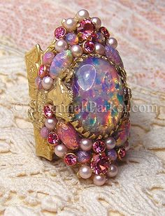 Antique Style Victorian Art Nouveau MERMAID Orchid Pink Glass Fire Opals Ring OH MY GOD SO PRETTY