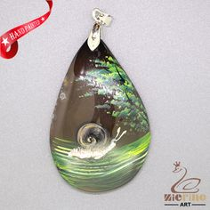 Hand Painted snail Pendant For Necklace Gemstone With Silver Bail   ZL807256 #ZL #Pendant