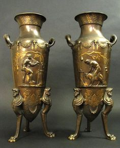 Large Pair of Gilt & Patinated Bronze Vases Barbedienne : Lot 262