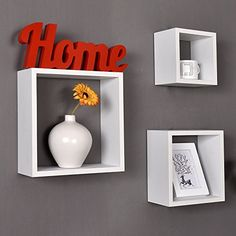 WELLAND Victorian Tri Wall Shelves Cube Displaying Shelf Set of inch and 10 inch, White Cube Wall Shelf, Wall Cubes, Wall Shelf Decor, Cube Shelves, Wall Shelves Design, Living Room Tv Unit Designs, Bedroom Wall Designs, First Apartment Decorating, Shelves In Bedroom