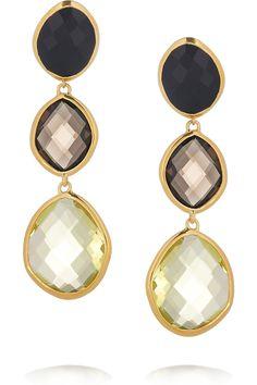 MONICA VINADER  Nugget 18-karat gold-vermeil multi-stone earrings  $550