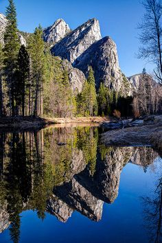 Three Brothers, Yosemite National Park, California reflection in Merced River; photo by Eric Leslie Places To Travel, Places To See, Photos Voyages, Parcs, Nature Pictures, Natural Wonders, Belle Photo, Beautiful Landscapes, The Great Outdoors