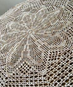 Large filet coffee coloured handmade thread crochet doily