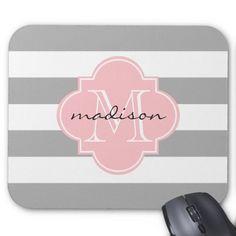 Gray and Pink Nautical Stripes Custom Monogram Mouse Pad