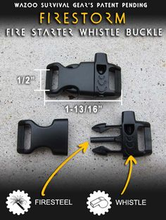 Fire Steel + Whistle buckle.  Great for paracord bracelets.  $8.50