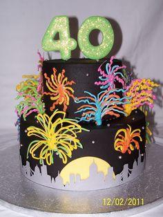 40 With Fireworks Pretty Cakes, Beautiful Cakes, Amazing Cakes, Elegant Cake Design, Fireworks Cake, 40th Birthday Cakes, 60 Birthday, Birthday Ideas, 4th Of July Cake