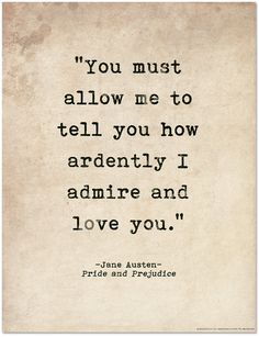 Romantic Quote Poster. Pride and Prejudice Jane Austen Literary Print For School, Library, Office or Home by EchoLiteraryArts on Etsy