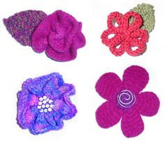 4 Different knitted flowers. Free patterns