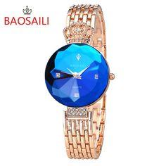 Bright Sapphire Gold Crown Quartz Watch