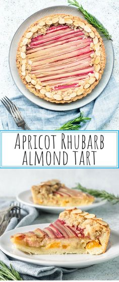 Apricot Rhubarb Almond Tart has an almond crust, apricots layered on the bottom, an almond cream on top, covered with rhubarb ribbons and a crumble topping! #almondtart #tart #almondcrust #rhubarbtart #rhubarb #apricots #pie #crumbletopping
