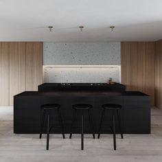 Artem Trigubchak is an Architecture and Interior Design practice based in Kiev and working worldwide. Minimal Kitchen, Modern Kitchen Design, Interior Design Kitchen, Kitchen Dinning Room, Kitchen Layout, Dining, Kitchen Furniture, Furniture Design, Furniture Stores