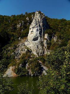 King Decebal head Carved in rock, Iron Gates Natural Park, Danube, Romania
