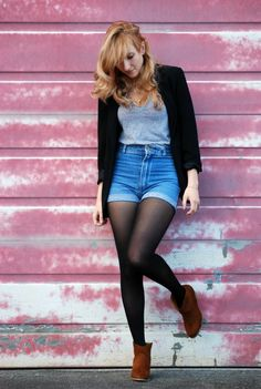 high-waist jean short with leggings - must do!