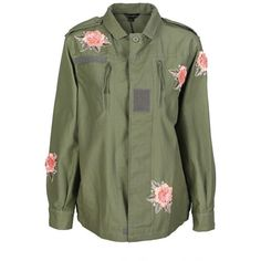Floral Embroidered Utility Jacket (2.920 RUB) ❤ liked on Polyvore featuring outerwear, jackets, military utility jacket, cotton military jacket, military parka jacket, green utility jacket and zip jacket