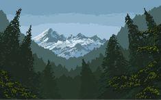 "Stephan Hövelbrinks on Twitter: ""Mountains in #pixelart landscape study.… """