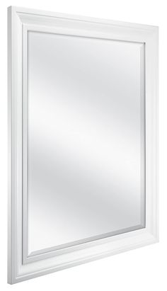 MCS Inch Rectangular Wall Mirror, Inch Overall Size, White Diy Vanity Mirror With Lights, White Bathroom Mirror, Diy Mirror, Beveled Mirror, Wall Mirror, White Vanity Mirror, Mirror Ideas, Vanity Set, Hollywood Lighted Vanity Mirror