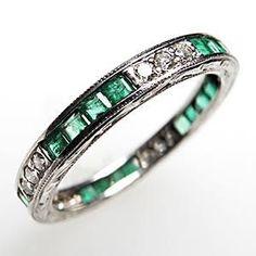 Vintage Wedding Band Ring Eternity Style Natural Emerald & Diamond Solid Platinum