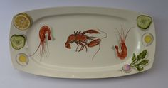 MASSIVE Norwegian FIGGJO FLINT Seafood or Prawn Salad Serving Platter. Very Rare with Lobster Addition