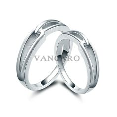 New Simple Design 925 Sterling Silver White Gold Plated Couple Ring