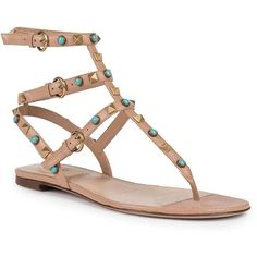 Valentino Multi-Studded Leather Gladiator Thong Sandals ($1,470) ❤ liked on Polyvore featuring shoes, sandals, apparel & accessories, beige, beige sandals, ankle strap thong sandals, bohemian sandals, ankle strap gladiator sandals and studded sandals