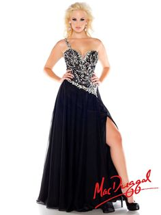 "Gorgeous and playful is the impression this stellar chiffon gown leaves in your peers head. Fully beaded embellished top sweetheart bodice you almost forget its a one shoulder. Features:   Available in sizes 14W-30W  Colors include Black/Silver, Cherry   Dress Length (Hollow to Hem): 58""-60""  Fabric: Chiffon"