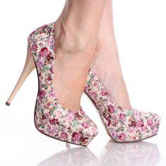 Beige Retro 70s Floral Flower Platform High Heel Pump Womens Shoes