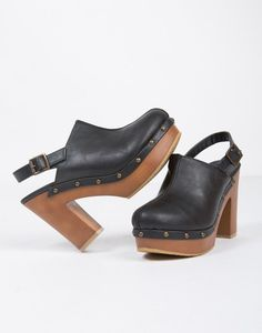 Studded Mule Clogs - Black Clogs - Black Heels - Wooden Heels – Shoes – 2020AVE