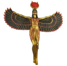 Ancient Egyptian Goddess Isis With Open Wings Statue Deity Mythology Long Egyptian Isis, Egyptian Goddess, Egyptian Art, Egyptian Mythology, Isis Goddess, Mother Goddess, Ancient Artefacts, Ancient Egypt, Ancient History