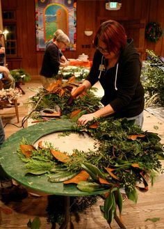 Host Ashley at the 2012 Wreath Making Workshop at the John C. Campbell Folk School.