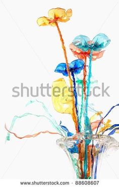 stock photo : art composition with plastic bottle/plastic flower/abstract flower composition