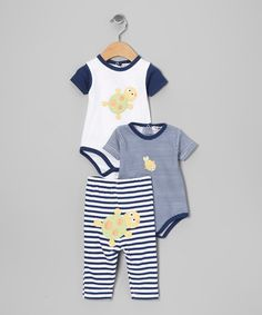 Take a look at this Blue Stripe Bodysuit Set by Rumble Tumble on #zulily today!