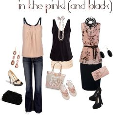 Pink and black. Night out, casual day, career or wedding guest/special event attire mix and match.