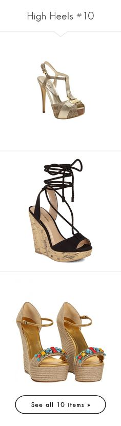 """High Heels #10"" by asiebenthaler ❤ liked on Polyvore featuring shoes, brown shoes, brown pumps, brown platform pumps, brown platform shoes, platform pumps, sandals, heels, wedges and wedge heel shoes"