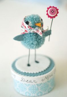 Bluebird  I made this Bluebird for my daughters darling kindergarten teacher, Mrs. Campbell. I used yarn, felt, a button and decoupaged the box which I filled with chocolates.