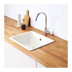 DOMSJÖ Indbygningsvask, enkelt, hvid