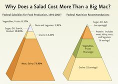 This is why life saving, chronic disease preventing, fruits and vegetable cost more than junk food.  Pretty simple really.  Farm bill tax dollars go right to corporate agriculture. Monsanto controlled agriculture all along the way with these biotech corporations involved in farmland grabs worldwide to limit non GMO farming. Almost all $$ goes to meat/dairy/GMO soy & corn crops for animal feed. GMOs feed cattle, dairy, chicken, pork, and fish in many forms. Meat and diary are major GMO…