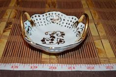 Small White Porcelain Bowl w/ Gold Floral & Handles, Open Work Decorative Bowl #Unbranded #Modern