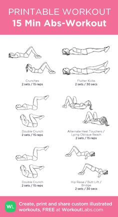 15 Min Abs-Workout: my visual workout created at WorkoutLabs.com • Click through to customize and download as a FREE PDF! #customworkout