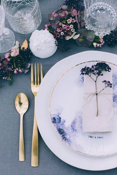 French Woodland Wedding Scene Grey Tablescape - Vintage Inspired Wedding Inspiration From A French Forest With Images by Juli Etta Photography and Styling by Olivia Pellerin