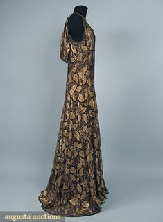 Black Lace & Gold Lame Evening Gown, 1930s, Augusta Auctions, October 2006 Vintage Clothing & Textile Auction, Lot 743