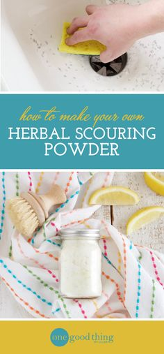 Learn how to make an all-natural scouring powder made with natural herbs and essential oils. It's great for scrubbing tubs, toilets, and sinks!