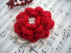 Crochet Beaded Rose brooch  http://www.etsy.com/shop/CraftsbySigita?ref=si_shop