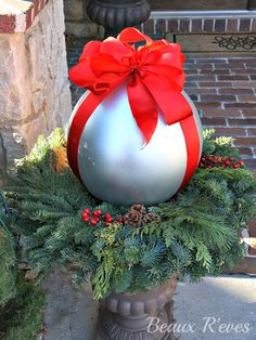 spray painted chicdren's play balls into Christmas decor