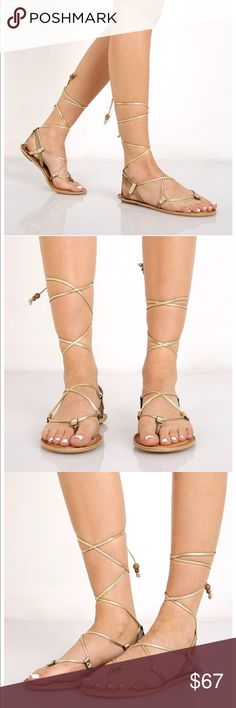 DOLCE VITA Karma Gold Gladiator Sandal (NEW) NEW. Dolce Vita's Grecian-inspired glam sandals shine with lizard-embossed detail in a coveted lace-up design that delicately wraps around the ankle. Dolce Vita Shoes Sandals