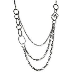 Necklace, 3-strand, steel with black finish, 28-inch continuous loop. Sold individually.