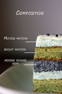 Matcha & Black Sesame Mousse Cake.   I really really really really want to try this.