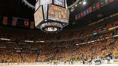 Nashville, TN - May 2: A general view of a sold out crowd during a time out in the third period of Game Four of the Western Conference Second Round between the Nashville Predators and the St. Louis Blues during the 2017 NHL Stanley Cup Playoffs at Bridgestone Arena on May 2, 2017 in Nashville, Tennessee.