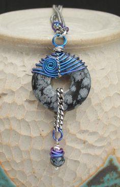 Wire Wrapped Niobium Blue Gray Necklace, Gray Black Stone Pendant, Blue Niobium Stainless Steel Necklace, Blue Gray Niobium Steel Jewelry Handmade USA