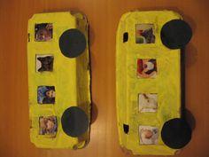 Bus: Neem de bovenkant van een eierdoos en verf hem geel. Knip er raampjes uit. Plak hier plaatjes vanuit een tijdschrift achter. Knip twee zwarte cirkels en gebruik deze voor de wielen van de bus.