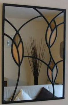 art deco buds leaded mirror